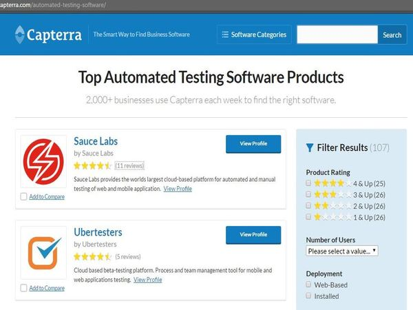 Capterra Automated Testing Tools